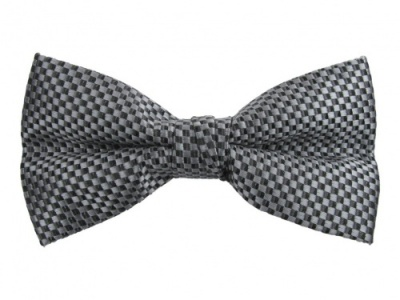 Polyester Pre-Tied Grey Bow Tie with Check Pattern